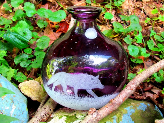 Purple Wolf Bottle or Vase