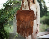 On Sale was 170 usd //Fringe Brown  Leather Bag - SABRINATACH