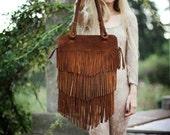 On Sale was 170 usd //Fringe Brown  Leather Bag