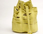 Tajos Lime Suede Leather Bag// Made to order //