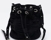 Tajos Black Suede Leather Bag
