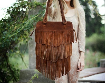 Fringed  Brown  Leather Bag //On sale was 190// Suede Tote, Leather Tote.