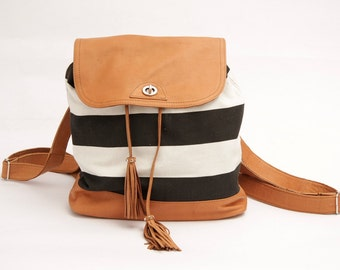 Canvas Backpack, navy handbag, Backpack with stripes, fabric and leather backpack, canvas backpack handbags for women, everyday bag