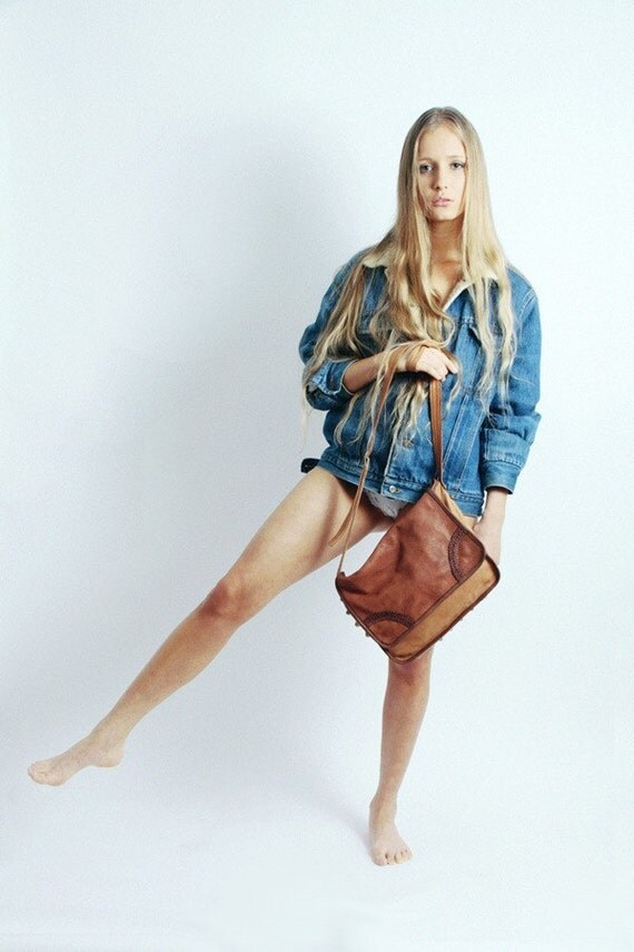 Cobra Tan Leather Satchel Bag