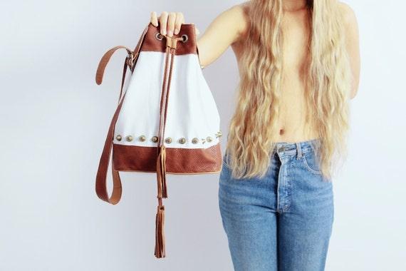 Adri White-Tan Leather Drawstring  Bag
