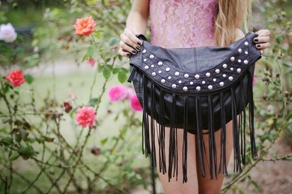 Studded black leather bag  //Rock'n bag//