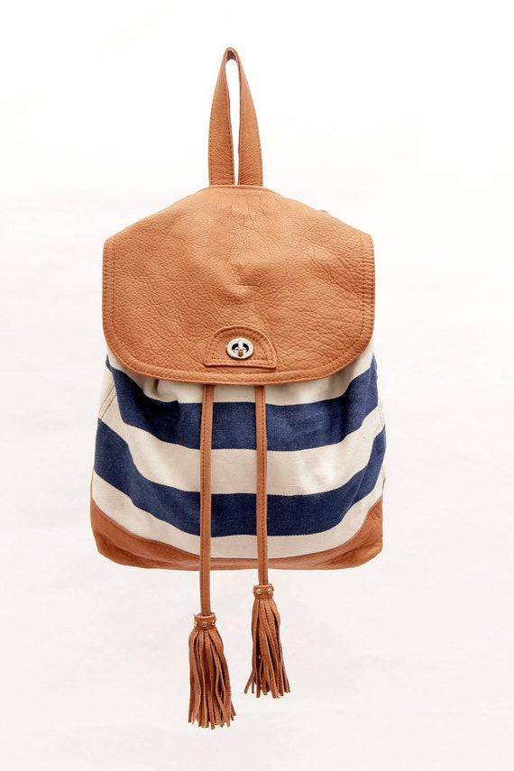 Leather and fabric Backpack, Striped Backpack, Navy Striped Backpack, Cool Girl Gift, Backpack for her, Bucket Rucksack, Backpacks for teens