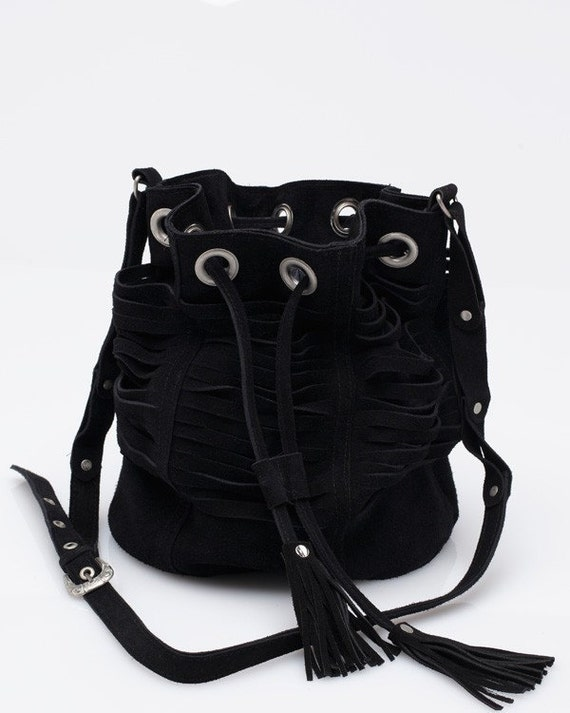 Black leather bag, leather bucket bag, suede bucket bag, festival bag, black leather purse, bucket bag, leather drawstring bag,