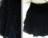 SALE vintage 80s BLACK LACE high waist skirt size S