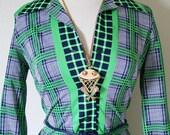 vintage 70s PREPPY plaid NELLY DON shirt dress size m