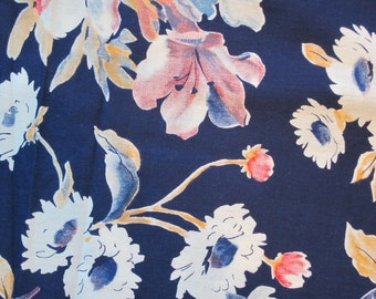 5 yards Navy Blue Floral Fabric