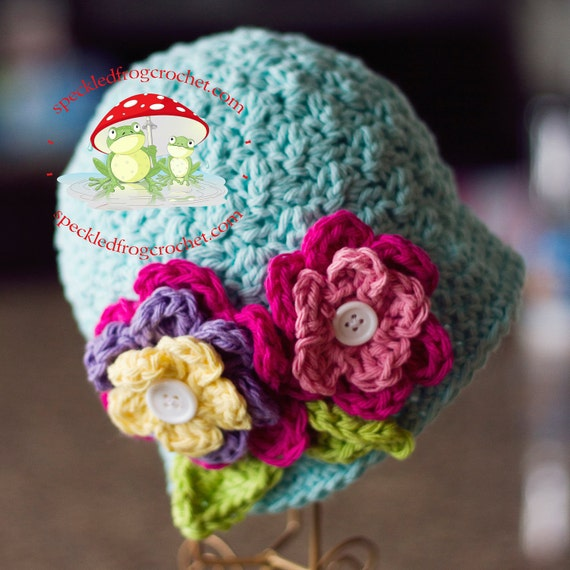 CROCHET HAT PATTERN Beautiful Bloomin Cloche Sizes Newborn, Girls and Ladies Crochet Cloche Pattern