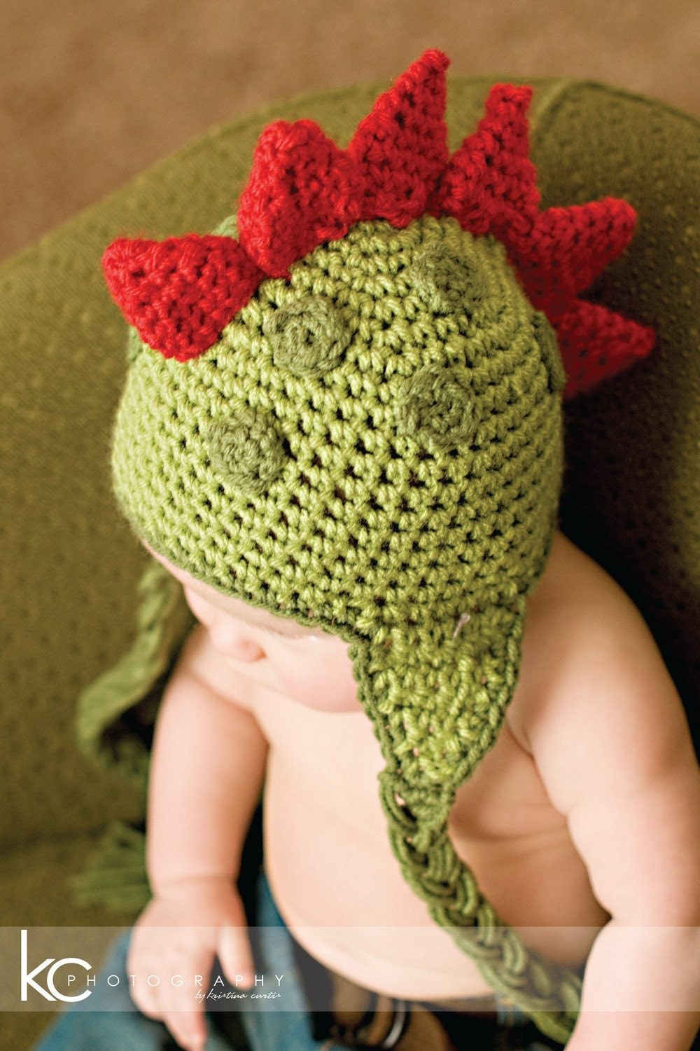 Free Crochet Pattern For Dinosaur Beanie : CROCHET PATTERN Dinosaur Hat Newborn to by PrettyDarnAdorable