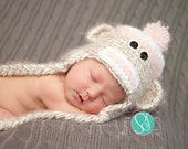 Pink Sock Monkey Hat with Earflaps- photography prop