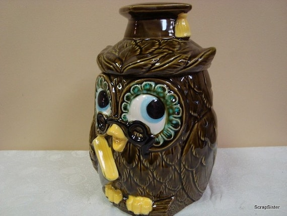 Wise Guy Mr Owl Graduation Cookie Jar With By