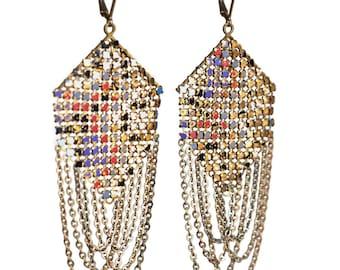 Klimt Swagged Mesh Earrings - Purple Red Gold