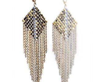 Diamond Panel Fringed Mesh Earrings