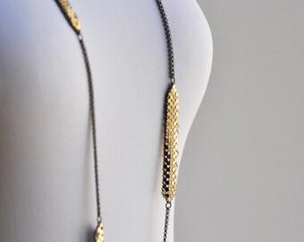 Long Bar Station Necklace - Framed Mesh