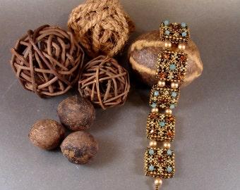 Tutorial for Alhambra Tiles Beadwork Cuff Bracelet with Swarovski Crystal