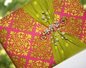 Mehandi Guest book and Pen Set - Pink and Green