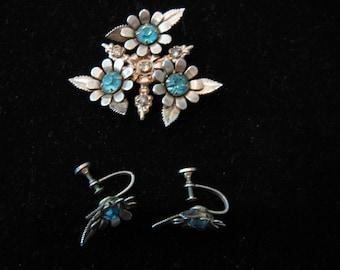 Vintage 1960's, blue rhinestone Screw back Earrings and pin Set.