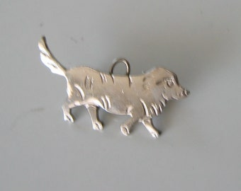 Vintage Dog Brooch, Pin pendant.  Silver metal.  1950's