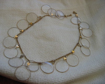 Vintage 1960's,  19 Optical Lens Necklace.  Gold plated with 19 antique lenses.  Decades before Steampunk.