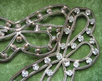 Antique Applique Sew Trim Butterflies.  Pair.  Vintage silver metal and Rhinestones.  Breathtaking.