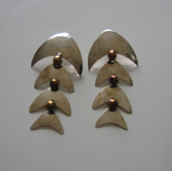 Vintage Taxco 4 part dangle earrings.  Sterling, articulated.  Pierced, long. Mexican