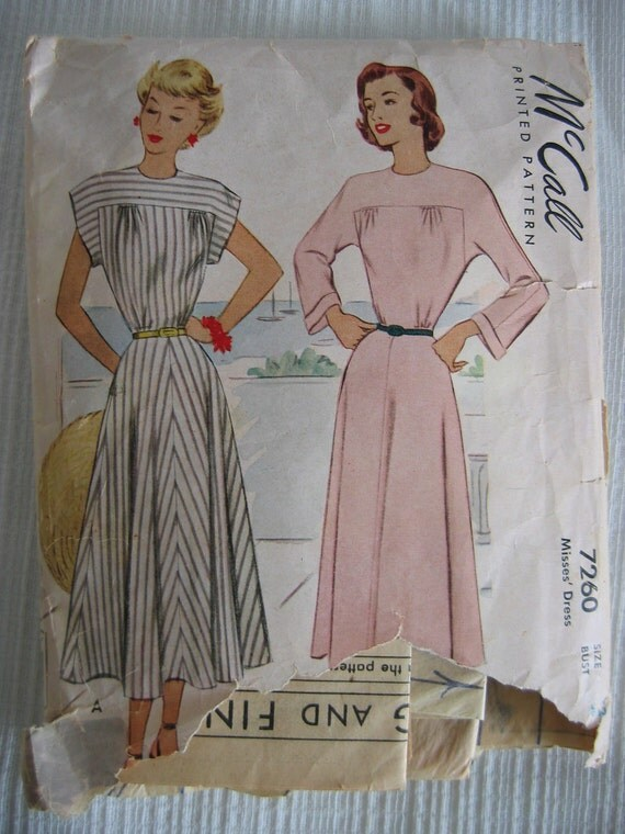 Vintage 40's DRESS sewing pattern.   McCall. Size 12.   1948.