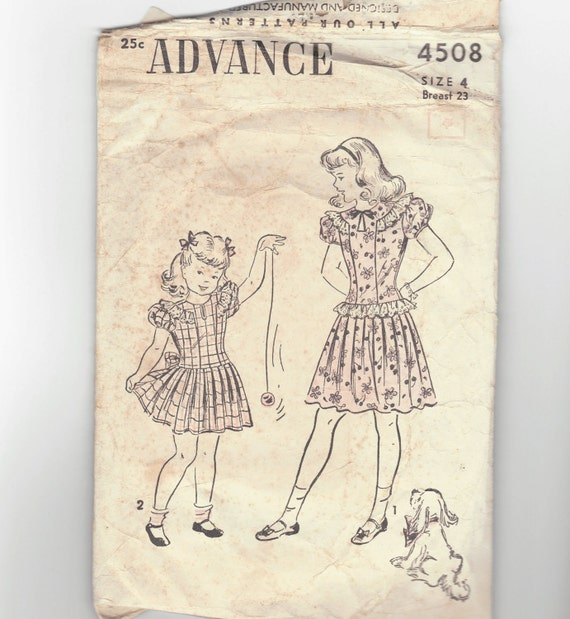 Vintage 40's Girl's drop waist Dress sewing pattern.   Advance. Girl's Size 4.   No. 4508.