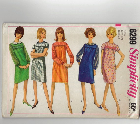 Vintage 60's Gathered Yoke Dress sewing pattern.   Jackie O, Mad Men.  Simplicity.  Size Teen 12T.   No.  6299.