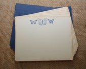 Navy Butterfly Stationery, Butterfly Thank You Notes, Rustic Note cards-  Set of 6 cards and envelopes