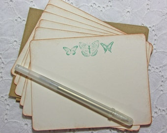 Aqua Butterfly Stationery, Butterfly Thank You Notes, Rustic Stationery -  Set of 6 cards and envelopes