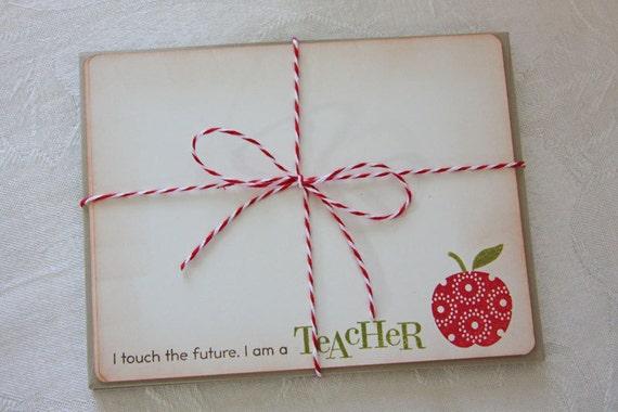 Teacher Stationary - Apple - Set of 6 cards/envelopes