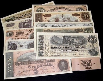 Lot of Confederate Civil War Replica Reproduction CSA Paper Money 10 Bills New Old Stock Unopened