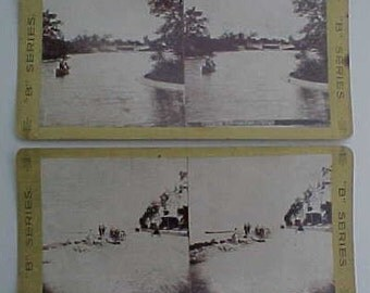 Antique Stereoviews Chicago Il Jefferson Park & Lake Shore Drive Photographs Photo Victorian Photo