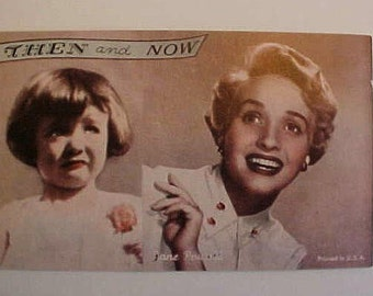 Original 1940s Penny Arcarde Then & Now Card Jane Powell Exhibit Supply Card Vintage Coin Op