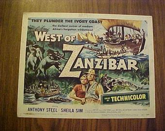 SALE...Genuine 1954 West of Zanzibar Anthony Steel Movie Theater Lobby Cards Set of 8