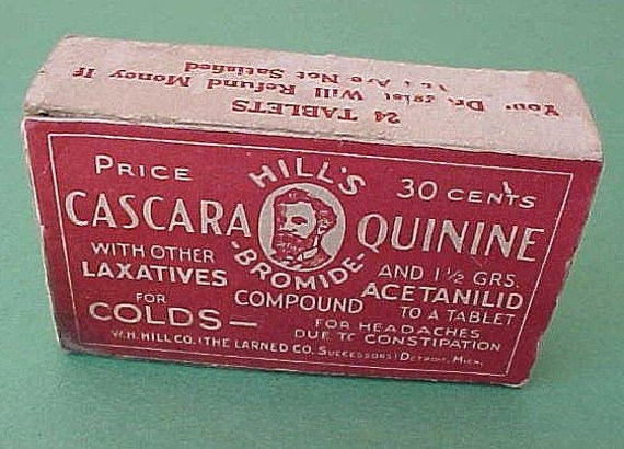 Antique Cascara Quinine Hill's Bromide quack Medicine Advertising Box Vintage