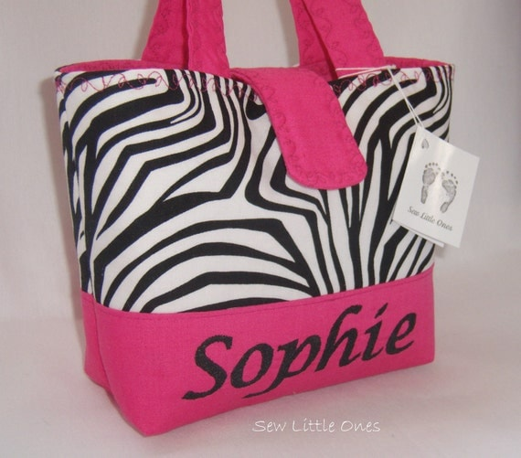 Personalize Zebra Hot Pink Handbag-Little Girls Purse