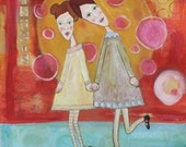 SISTERS original mixed media painting 16x20 inches