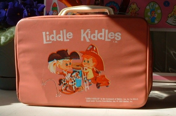 Free Shipping Vintage 1965 LIDDLE KIDDLES Pink Carrying Case Bag - 47 Year Old Doll Toy - Very Nice Vintage Condition