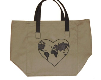 Reusable Market Bag, reusable grocery tote, canvas tote, Mens bag - I Heart Earth