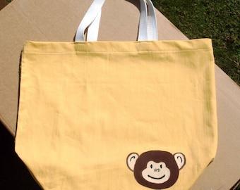 Reusable Shopping Bag, Reusable cotton bag, Yellow Shopping bag, Yellow Monkey Bag