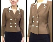 FREE US Shipping 80s Vintage 40s Retro Light Brown White Double Breasted Skinny Blazer Jacket sz 4 P