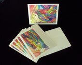 Set of 6 Note Cards- Rainbow Spectrum Women- 2 of each image- colorful, hair, beautiful, goddess