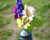 BIRDS vintage brooch heirloom bouquet, purple blue white glass vase, floral arrangement, wedding favor get well gift, OOAK charming decor