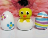 Baby Chick w/ Easter Eggs Lampwork Beads
