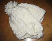 Child Winter Hat, Size 1-2 Yrs Old, Cable Hat, Wool-Blend Hat, Ready to Ship Hat